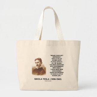 Nikola Tesla Money Value Discoveries Easier Life Large Tote Bag