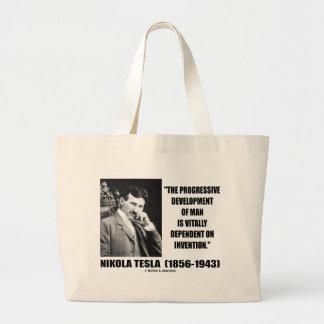 Nikola Tesla Progressive Development Of Man Quote Large Tote Bag