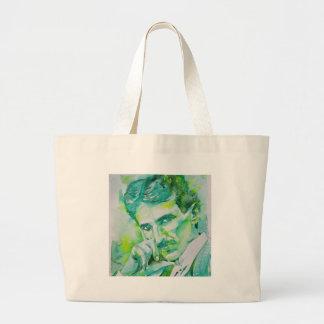 nikola tesla - watercolor portrait.2 large tote bag