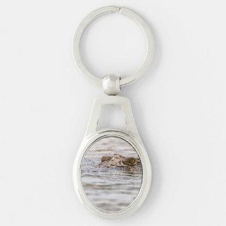 Nile Crocodile Silver-Colored Oval Key Ring