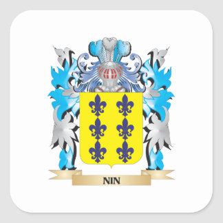 Nin Coat of Arms - Family Crest Square Sticker