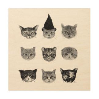 NINE CUTE CATS INK DRAWING WOOD WALL ART