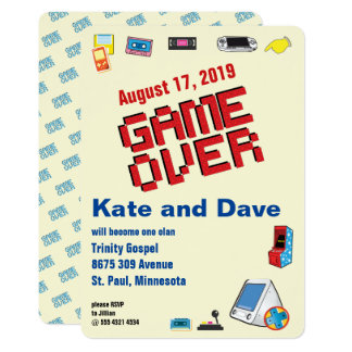Nineties Video Gamer Game Over Wedding Invitation