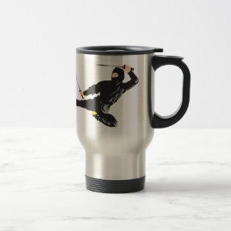 Ninja flying kick stainless steel travel mug