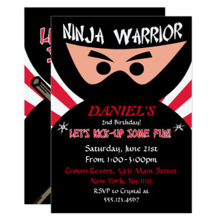 Ninja Warrior Birthday Invitation