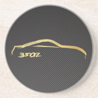 Nissan 350z Gold Silhouette w/ Faux Carbon Coaster