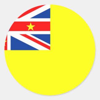 Niue flag classic round sticker