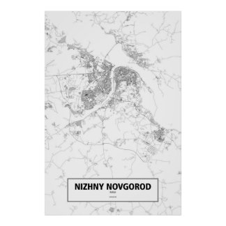 Nizhny Novgorod, Russia (black on white) Poster