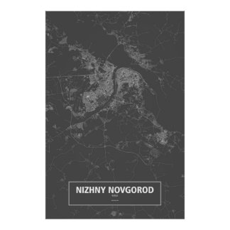 Nizhny Novgorod, Russia (white on black) Poster