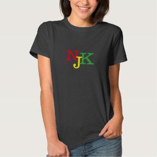 Njoku 'NJK' Reggae Women's Black Logo T-Shirt. Tshirts