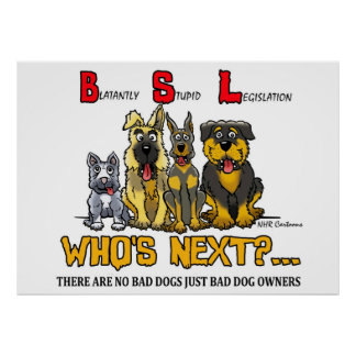 NO BSL (Blatantly stupid Legislation) poster