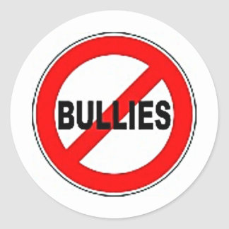 no bullies classic round sticker