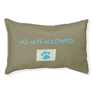 """No Cats Allowed"" Pawprint Stylish Funny Dog Bed"