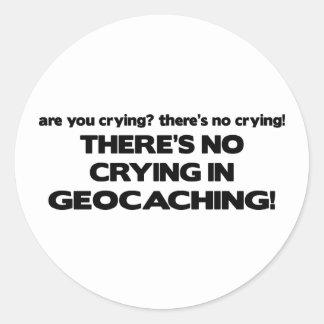No Crying - Geocaching Round Sticker
