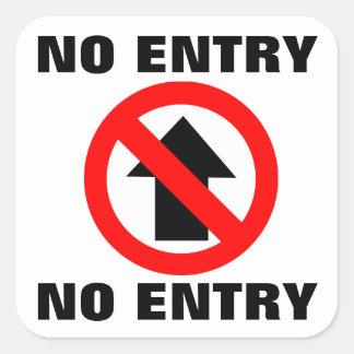 No Entry Sign Square Sticker