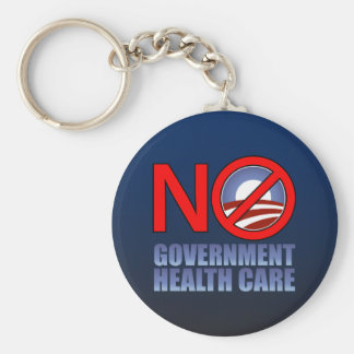 No Government Health Care Basic Round Button Key Ring