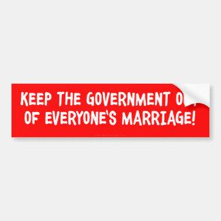 No Government Marriage Bumper Sticker Car Bumper Sticker