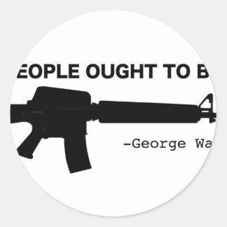 No Gun Control Classic Round Sticker