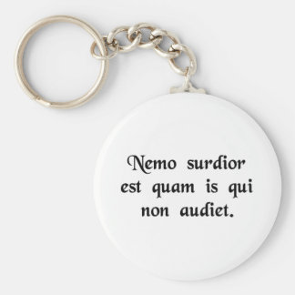 No man is more deaf than he who will not hear. basic round button key ring