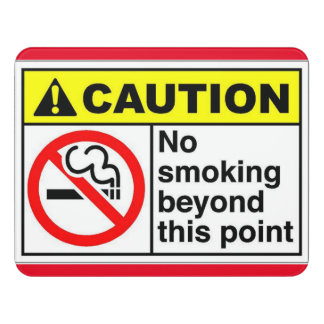 No Smoking Beyond This Point Door Sign