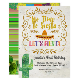 No Time to Siesta, Let's Fiesta Invitation Gold