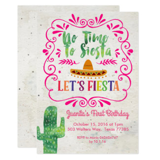No Time to Siesta, Let's Fiesta Invitation Pink
