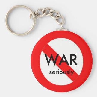no war, seriously basic round button key ring