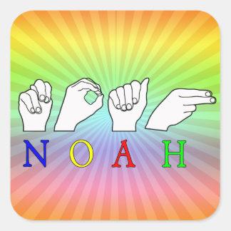 NOAH ASL FINGERSPELLED NAME SIGN SQUARE STICKER