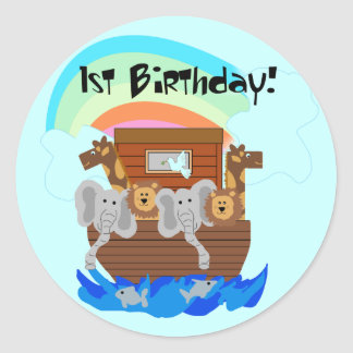 Noah's Ark 1st Birthday Tshirts and Gifts Classic Round Sticker