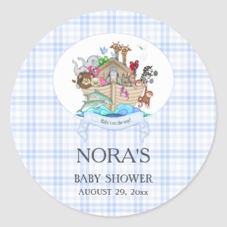 Noah's Ark Animals Blue Gingham Classic Round Sticker
