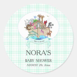 Noah's Ark Animals Mint Gingham Classic Round Sticker