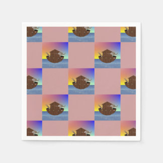 Noah's Ark Checkerboard Patterned Disposable Serviettes