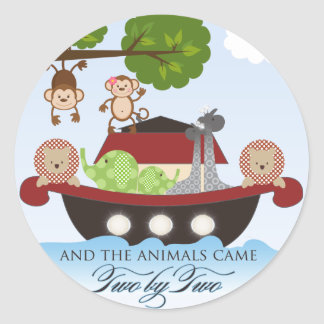Noah's Ark Stickers-Animals Came Two by Two Classic Round Sticker