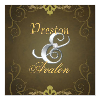 Nobel Brown Texture Silver Scroll Invitation