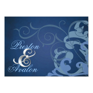 Noble Blue Scroll Blue Swirl Invitation