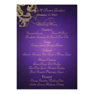 Noble Gold Scroll Purple Wedding Menu 5x7 Paper Invitation Card