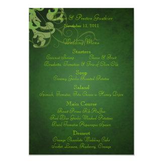 Noble Lime Scroll Green Wedding Menu 5x7 Paper Invitation Card