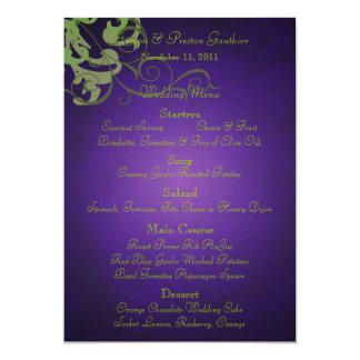 Noble Lime Scroll Purple Wedding Menu 5x7 Paper Invitation Card