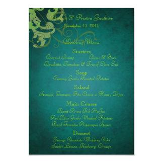 Noble Lime Scroll Teal Wedding Menu 5x7 Paper Invitation Card