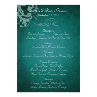 Noble Teal Scroll Teal Wedding Menu 13 Cm X 18 Cm Invitation Card