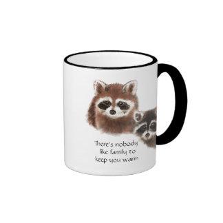 Nobody Like Family , Cute Raccoon Animal Ringer Mug