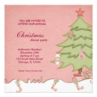Noel Christmas Dinner Personalized Announcement
