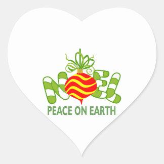 NOEL PEACE ON EARTH HEART STICKER