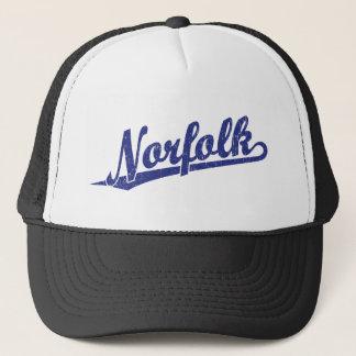 Norfolk script logo in blue distressed trucker hat