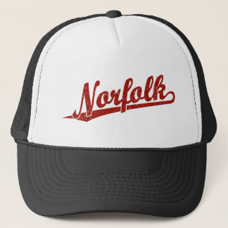 Norfolk script logo in red distressed trucker hat