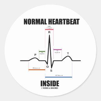 Normal Heartbeat Inside ECG EKG Round Stickers