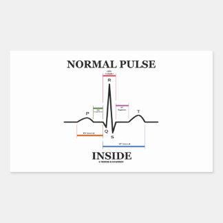 Normal Pulse Inside (ECG/EKG Electrocardiogram) Rectangular Sticker