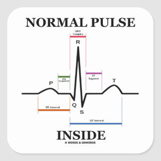 Normal Pulse Inside (ECG/EKG Electrocardiogram) Square Sticker