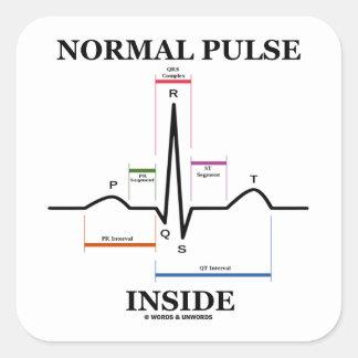 Normal Pulse Inside (ECG/EKG Electrocardiogram) Square Sticker