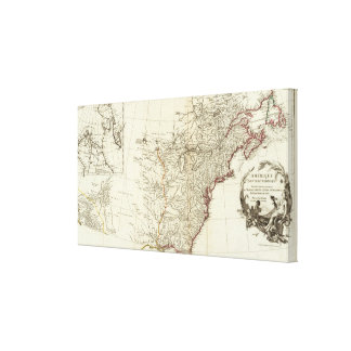 North America 1763 Boundaries inset map Stretched Canvas Prints